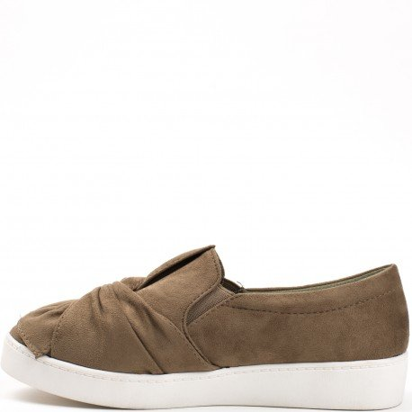 Ideal Shoes - Slip-on effet daim Damila Taupe