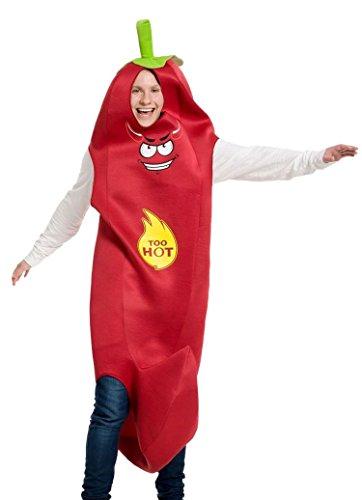 Folat 63373 Chilli Pepper Herren Damen mexikanisches Kostüm Hot würzig, Rot, Unisex (Hot Damen Kostüm)