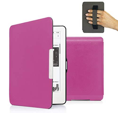 MyGadget PU Leder Hülle für Amazon Kindle Paperwhite (bis 2017) Handschlaufe & Auto Schlaf/Wach Funktion Magnetische Kunstleder Flip Case - Pink