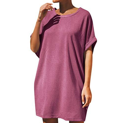 routinfly 2019 Neu Damen Rundhals Solide Lose T Shirt Kleid,Frauen Sommer Casual Übergroße Kurzarm Baggy Kleid Party Kleid Freizeit Strand Sommerkleid