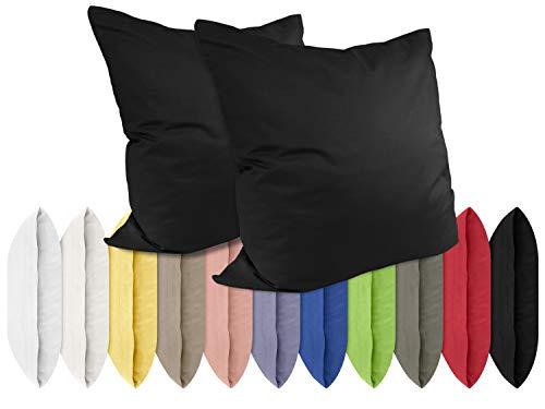 npluseins Renforcé-Kissenbezüge im Doppelpack - 100{19f2b71250b91653f44b4d198d3eacb05be0397971fd4bef8fc5f41849733623} Baumwolle - schlicht und edel im Design, in 11 Uni-Farben, 80 x 80 cm, schwarz