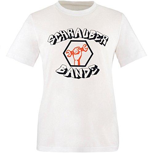 EZYshirt® Schrauber Bande Herren Rundhals T-Shirt Weiss/Schwarz/Orange