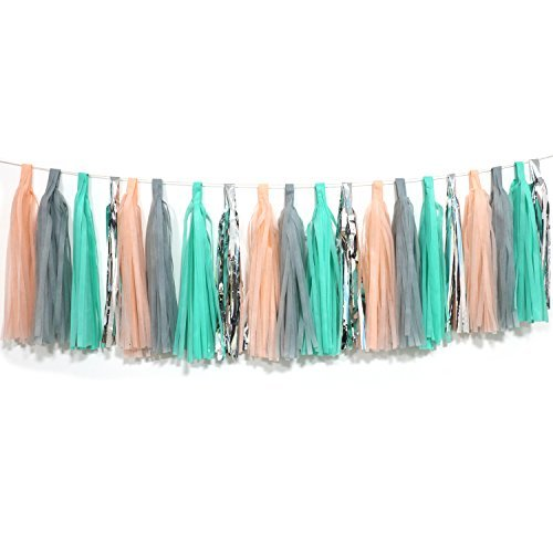 Gray Silver Tissue Paper Tassels Garland Decorations Set of 20 ()