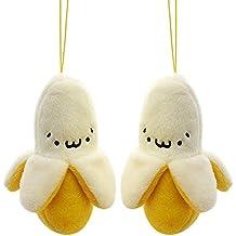2 piezas al por mayor nuevo diseño de 6 cm amarillo Cute Funda para teléfono plátano