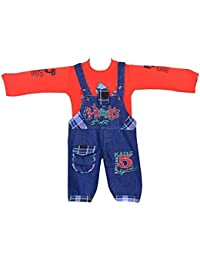 08055d92adb8 ahhaaaa s Baby Boys Denim Dungaree with T shirt (RED179-1 Red 12 - 18  Months)