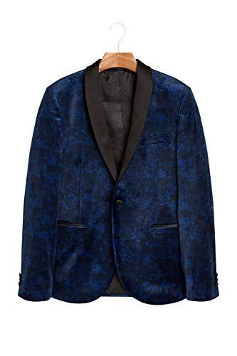next Herren Skinny Fit Samtjacke Mit Print Strahlend Blau EU 96.5 Regular (UK 38R) -