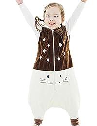 Happy Cherry - Saco de Dormir Infantil Mono del Algodón Franela con Cremallera Pijama de Bebé Cartoon para Niños Niñas - Marrón Azul Gris Amarillo Verde - Talla S(1-2 años) M(2-4 años) L(4-5 años)