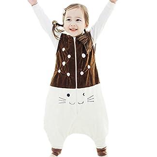 Happy Cherry – Saco de Dormir Infantil Mono del Algodón Franela con Cremallera Pijama de Bebé Cartoon para Niños Niñas – Marrón Azul Gris Amarillo Verde – Talla S(1-2 años) M(2-4 años) L(4-5 años)