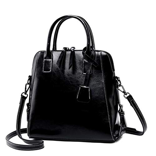 ZJEXJJ Damen Handtasche, weiche PU-Leder Umhängetasche, Totes Satchel Schulter Boston Tasche, Handtasche Handtasche Messenger Bag (Farbe : SCHWARZ, größe : One Size)
