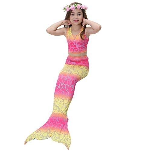 hibote Meerjungfrau Schwanz Kostüm Childs Kinder Mädchen Bademode Badeanzug 3 Stück Bikini Set Choice 15