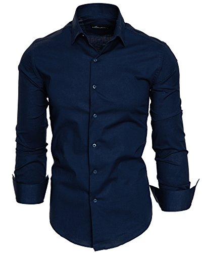 Amaci&Sons Herren Slim Fit Hemd Bügelleicht Business Freizeit Shirt 50003 Navyblau M
