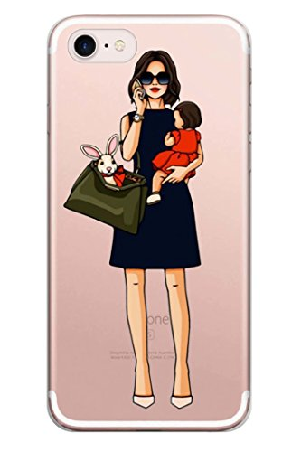blitzversand Handyhülle Girly Mädchen kompatibel für iPhone 4 Busy Mom & Daughter Schutz Hülle Case Bumper transparent M13