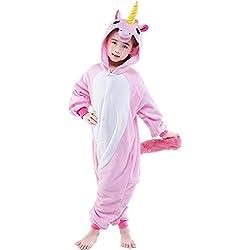 QUMAO- Kigurumi Pijamas de Unicornio con Capucha Unisexo para Niños Niñas Ropa de Dormir y Traje de Disfraz de Animal Cosplay para Carnaval y Halloween