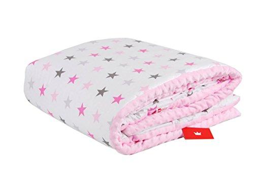 Preisvergleich Produktbild BABYLUX Kuscheldecke 100 x 150 cm Decke Babydecke Kinderdecke MINKY XXL (1. Rosa + Sterne)