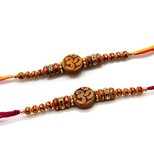 bignay Set von 2Raksha bhandan handgefertigt Rakhi Threads, Designer 6Stein Ring mit Multi Design Perlen Rakhi Threads, Raksha Bandhan Geschenk für Ihre Brother, variieren Farbe (Thread Schwestern)