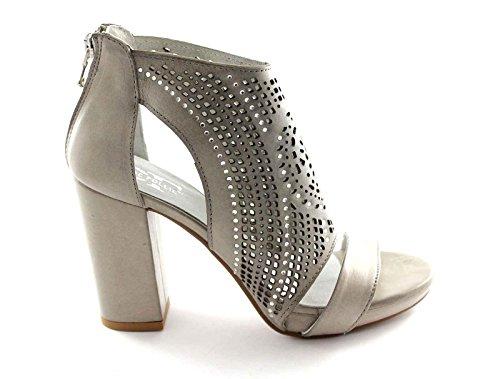 DIVINE FOLLIE LISA9 gris fermé sandales à talons zip femme talon plateaux Grigio