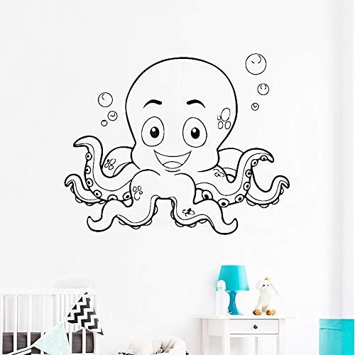 guijiumai Nette Octopus Wandaufkleber Für Baby Room Sea Ocean Vinyl Wandtattoo Badezimmer wasserdichte Tier Decals Kinder Kindergarten Rosa 56X68 cm -