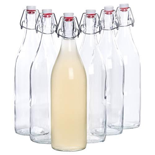 1 Saft (Bormioli Glasflaschen mit Bügelverschluss 'Giara' 6 teilig | Füllmenge 1000 ml | Gesamthöhe xx | Perfekt um Öle anzusetzten, Schnäppse zu veredeln oder zum servieren von Wasser, Säften und Weinen)