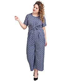 9a36ed2a057 Lastinch Women s Polyester Blue Printed Jumpsuit with Front Knot (Size  M-8XL)