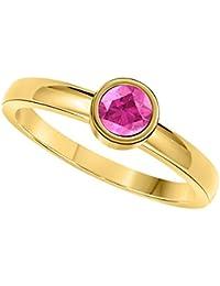 RS JEWELS Juego de bisel de plata de ley 925 chapado en oro amarillo de 18 quilates con zafiro rosa de 1,00 quilates, anillo solitario de compromiso de boda para mujer