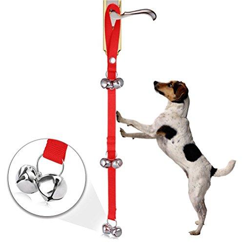 UEETEK Haustier Hund Tür Glocken Welpen Türklingeln Potty Training für Einbruch und Housetraining einstellbar mit sechs Laute Glocken (rot)