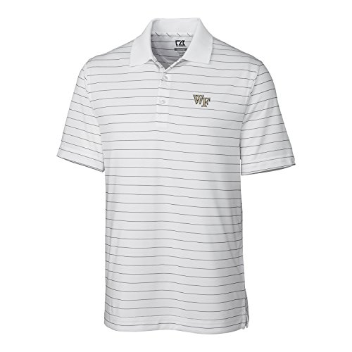 Cutter & Buck NCAA Wake Forest Demon Deacons  Men's CB Dry Tec Franklin Stripe Polo,White,X-Large