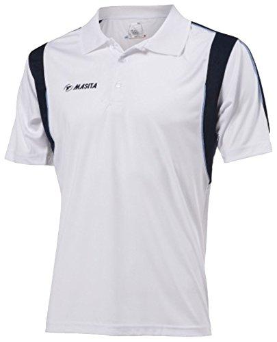 Masita Herren Polo Multi Sport Running Top Hälfte gezackte Abschlüsse gestreift Casual Shirts Weiß - weiß
