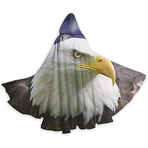 Eagles Women's Kostüm - American Flag and Bald Eagle Adult Tunika Hooded Knight Halloween Mantel Robe Kostüm Weihnachten, 59Inch (150,40Cm)
