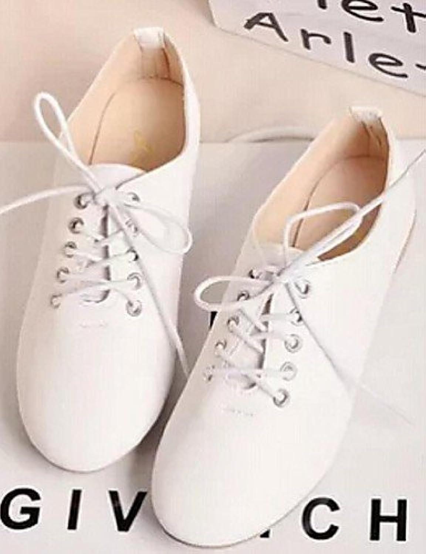 ZQ Zapatos de mujer - Tacón Plano - Punta Cerrada - Oxfords - Casual - Semicuero - Blanco , white-us8 / eu39 /...
