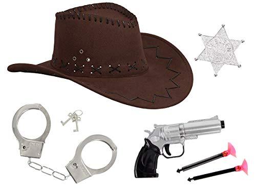 Kostüm Cowgirl Set - Alsino Cowboy Kostüm Accessoires für Damen & Herren (Kv-68) mit Cowboyhut braun Western Pistole Revolver Sheriffstern Set