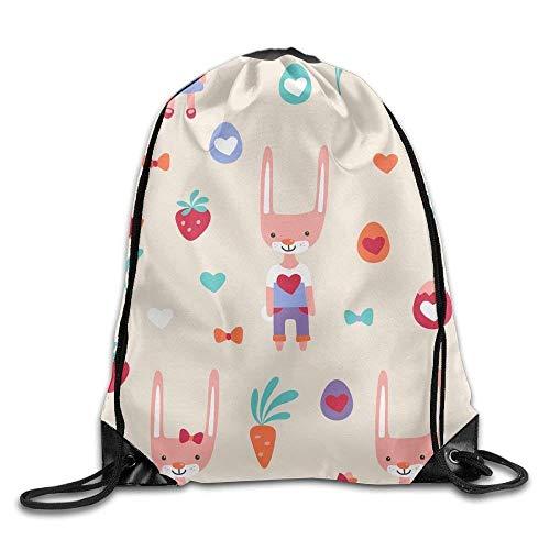 Galleria fotografica Jolly2T 3D Print Drawstring Backpack | Rucksack | Shoulder Bags | Gym Bag - (Cartoon Rabbits Hearts)