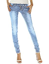 Bestyledberlin Damen Jeans, Slim Fit Hüftjeans, Stretchige Denim Hosen j214p