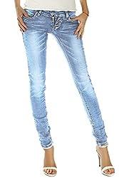 bestyledberlin Damen Jeans, Slim Fit Hüftjeans, Stretchige Denim Hosen j214p 40/L