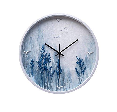 T-FBW Wanduhren Wanduhr Mute europäischen Persönlichkeit kreative Uhr Landschaft Uhr Runde dreidimensionale Relief Ölgemälde modernen minimalistischen Wohnzimmer Wanduhr (Design : A)