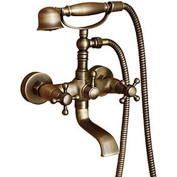 Hiendure ®Wandhalterung Zwei Griffe Badewanne Armatur Mit Hand Dusche  Schwarz Öl Eingerieben Bronze Finish Home ...