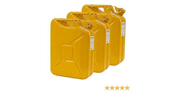 3x 20 Liter Benzinkanister Metall Ggvs Mit Sicherungsstift Gelb Blech 3er Set Auto