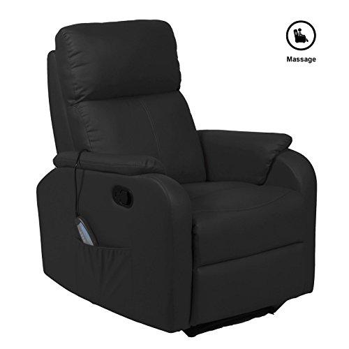 Massagesessel TV Fernsehsessel Relaxsessel SNOOZE mit Fußteil, aus Kunstleder in schwarz