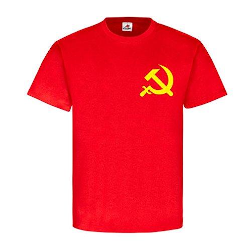 Kommunismus Russischen (UdSSR Russland Russia Hammer und Sichel Sowjetunion SU Russisch Russen Emblem Brust Abzeichen Kommunismus T Shirt #20466, Größe:M, Farbe:Rot)