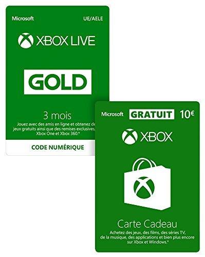 Abonnement Xbox Live Gold 3 mois + 10 EUR GRATUIT