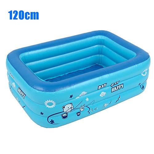 Treslin Kinderbadewanne Baby Heimgebrauch Planschbecken Aufblasbarer quadratischer Swimmingpool Kinderaufblasbarer Pool@1.2m