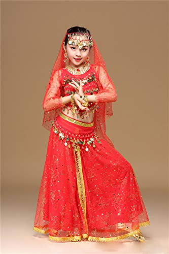 eidung Bollywood Orient Kleid Halloween Karneval Kostüme,Red,M ()
