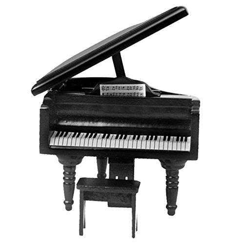 Gazechimp 1:12 Puppenhaus schöne Miniatur Klavier aus Holz Mit Hocker Schwarz