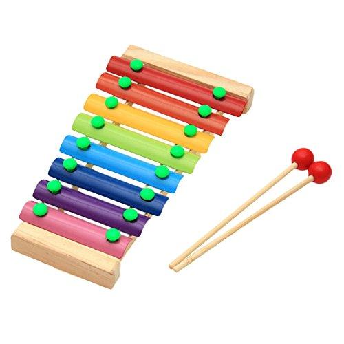 MoGist Kinder Lernspielzeug Musikinstrumente Holz Bunt Oktave Xylophon Einem Schlaginstrument Musikalisches Spielwaren mit 2 Rot Xylophon Schlägel