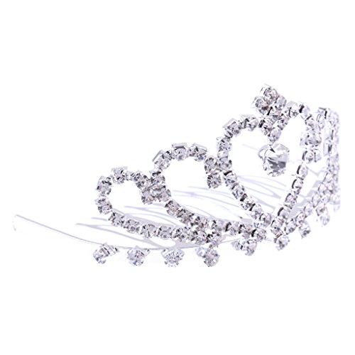 MagiDeal Mini Tiara am Kamm- Prinzessinnen Krone, Diadem mit Haarkamm - Silber 08, 8 x 5cm (Silber Mini-tiara)