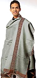 Exotic India Plain Mens Shawl with Brown Woven Border - Color GrayColor Free Size