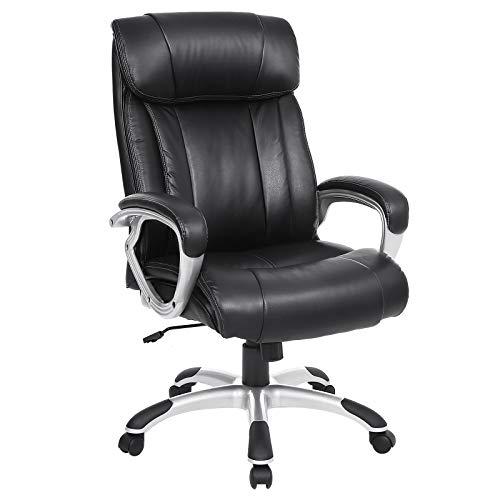 SONGMICS Bürostuhl breite Sitzschale mit Federkern Hohe Rückenlehne Chefsessel Computerstuhl PU schwarz OBG55BK