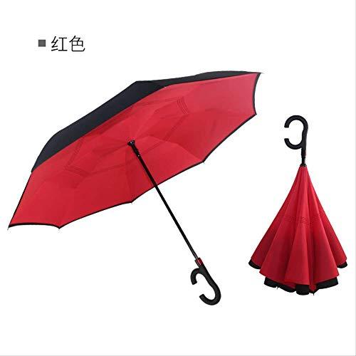 yingtengklk Umkehrregenschirme Folding Double Layer Inverted C Handhalter Stehen Regen Winddicht Rolling Over Umbrella Für Frauen Hellgrau -