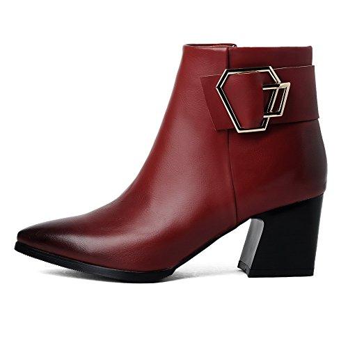Voguezone009 Mujeres Cremallera Con Punta Estrecha Tacones Cuadrados Low Boots Altura Rojo