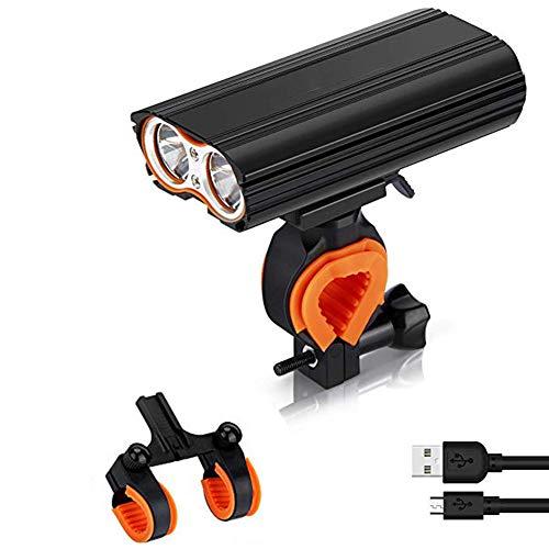 CUYE Fahrradbeleuchtung, USB aufladbare Fahrrad-Scheinwerfer-Licht 2400 Lumen Scheinwerfer-Set mit IP65 wasserdicht einen.Kreislauf.durchmachengebirgsfahrrad mit 2 Halter, 4400mAh, 4 Modi, 2X LED