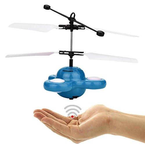 QUINTRA Hand fliegen UFO Ball LED Mini Induktions-Aufhebung RC Flugzeuge fliegen Spielzeug Drohne (Blau) (Video Pocket Navigator)